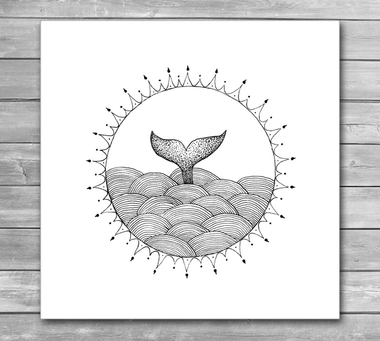 Whale in Waves, Abstract Design Print