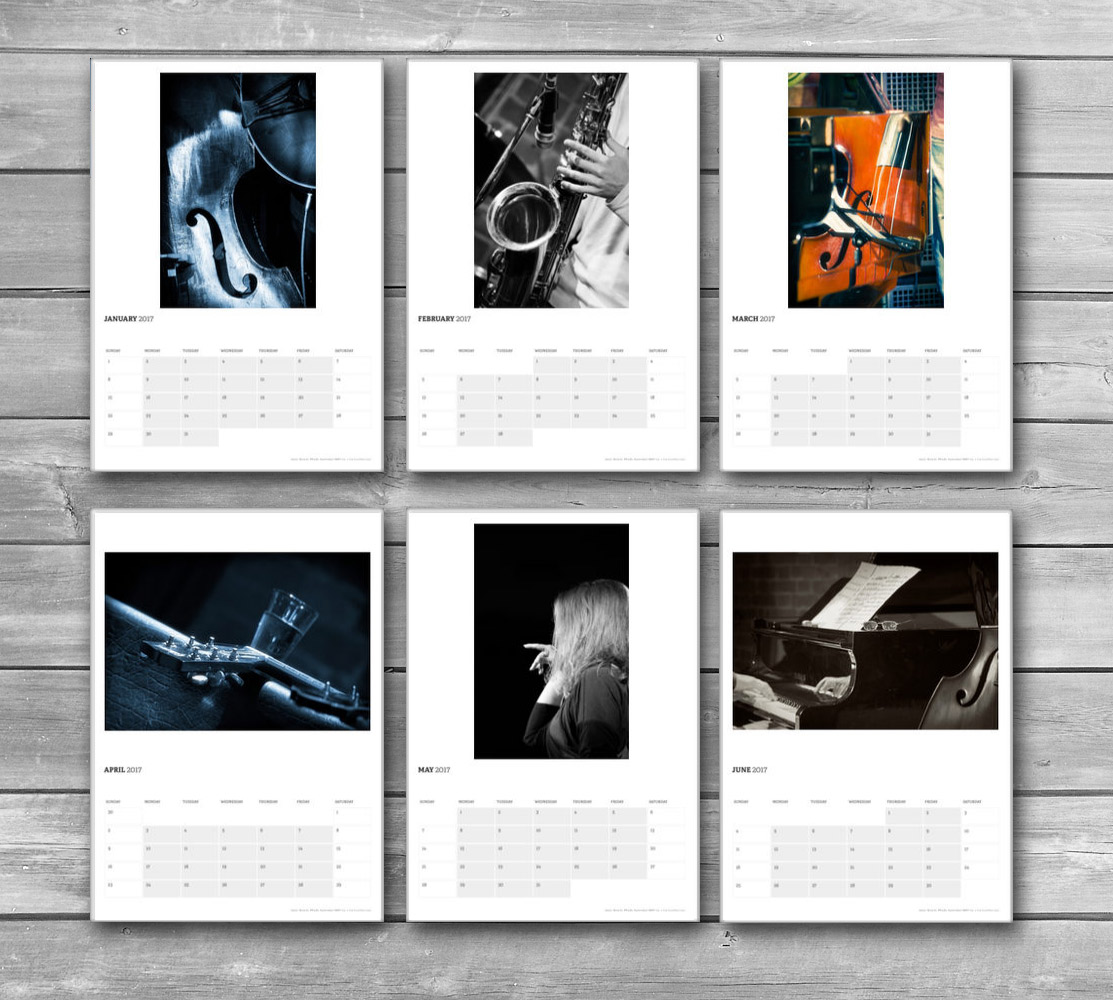 Jazz Music Wall Calendar