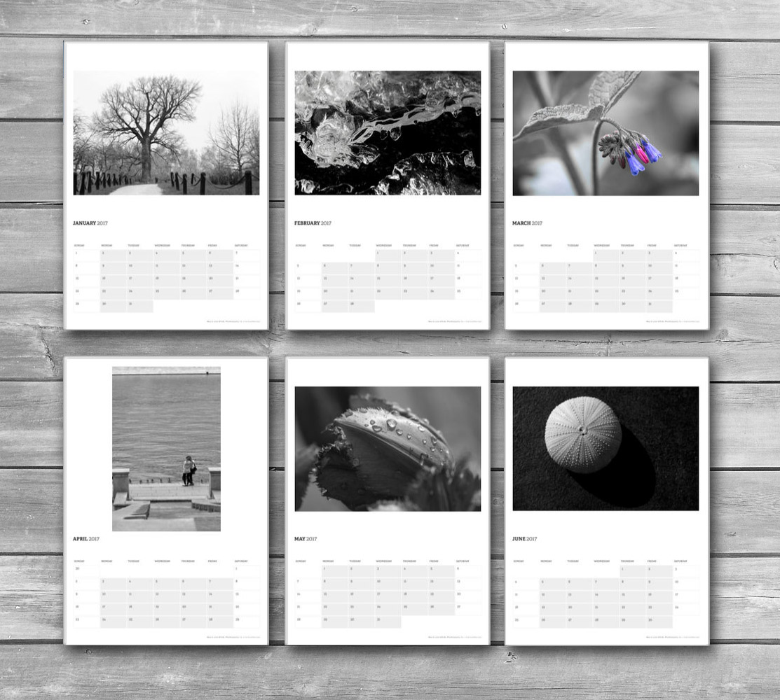 Black and White Monthly Calendar 2017